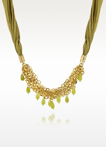 Green Jade Drops Multi-strand Sterling Silver Lace Necklace - Daco Milano