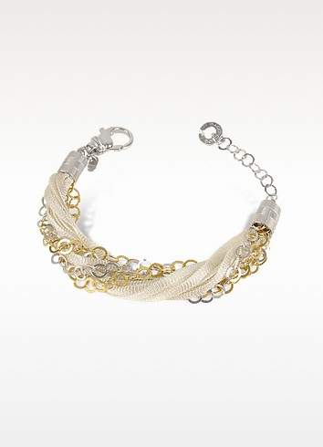 Multi-strand Sterling Silver and Lace Bracelet - Daco Milano