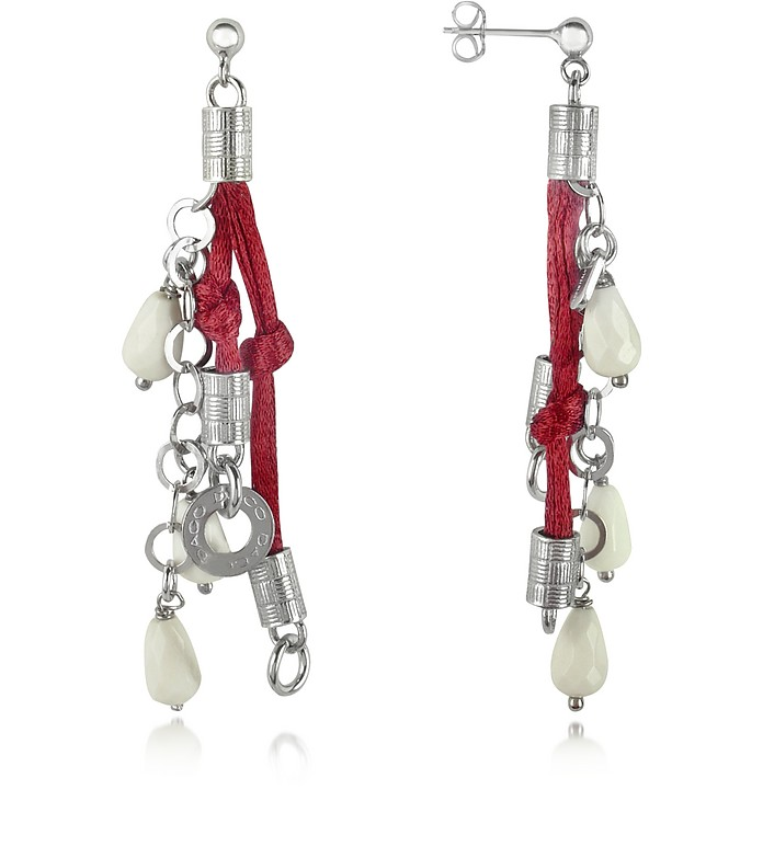 White Agate Sterling Silver Drop Earrings - Daco Milano