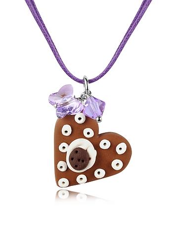 Dolci Gioie - Chocolate Heart Cake Pendant w/Lace