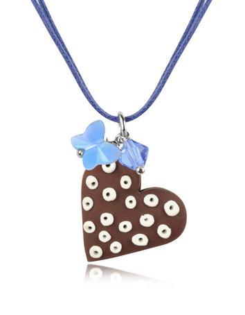 Dolci Gioie Chocolate Heart Cake Pendant w/Lace