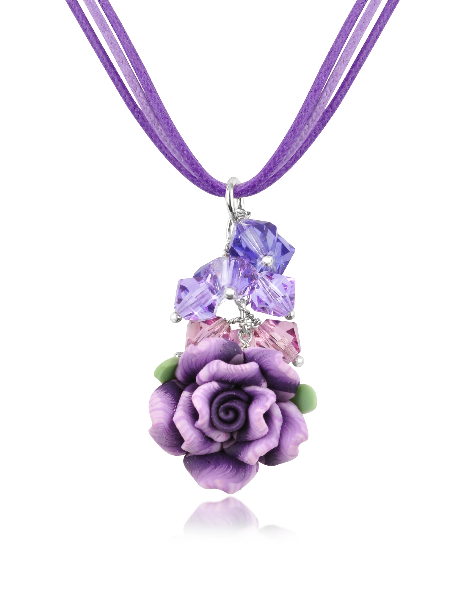 Фиолетовая Подвеска Роза на Шнурке