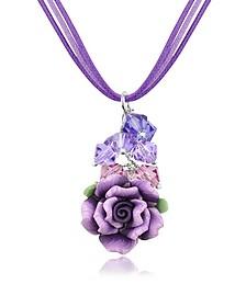 Purple Rose Pendant w/Lace - Dolci Gioie