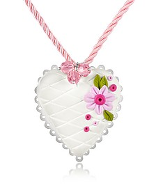 Sterling Silver White Heart Cake Necklace - Dolci Gioie
