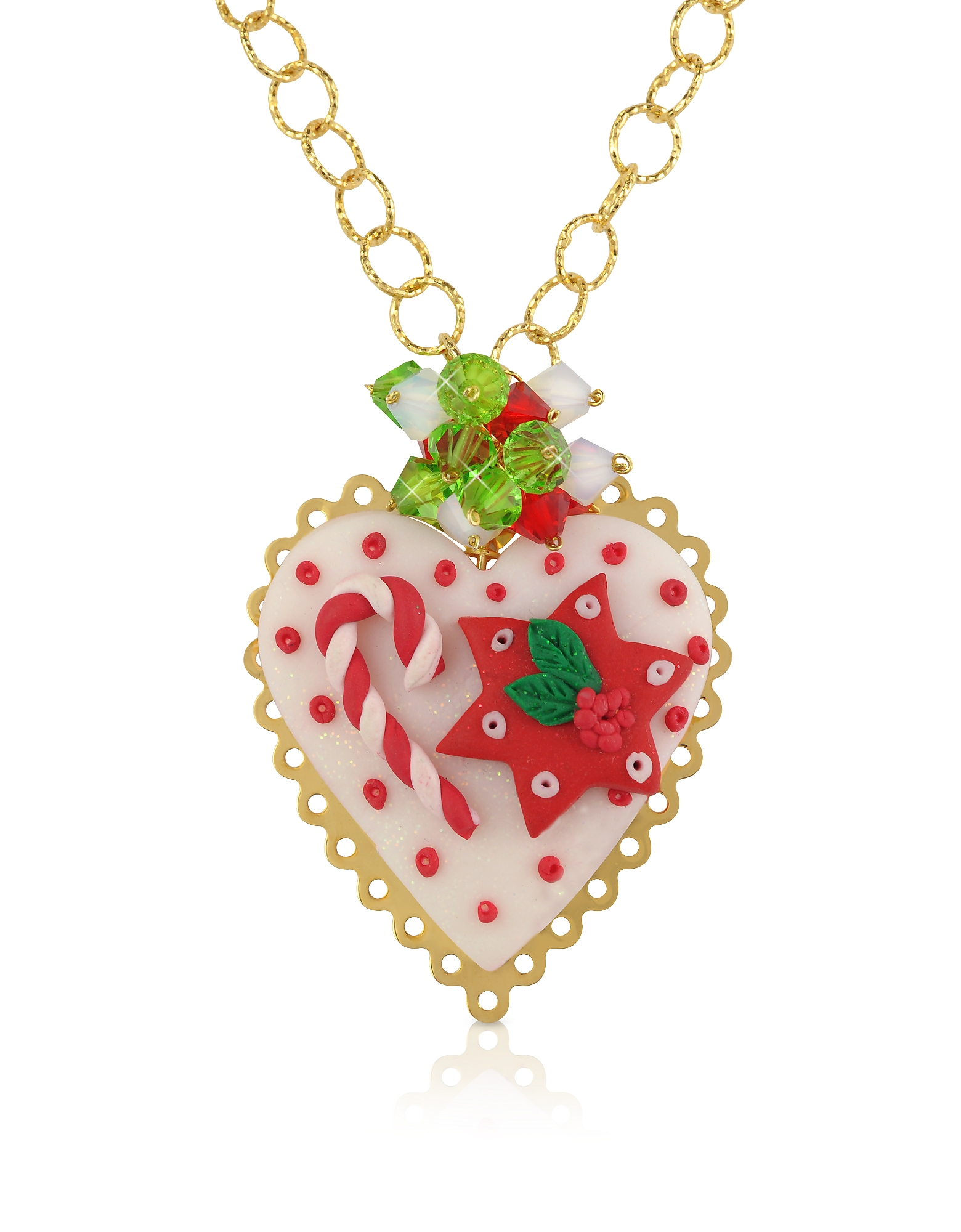Christmas Heart - Колье из Серебра и Глины