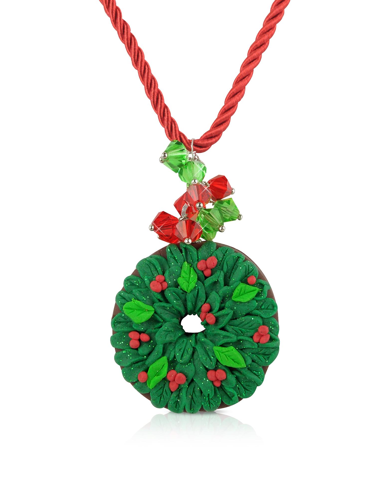 Ожерелье с Рождественским Венком из Японской Глины