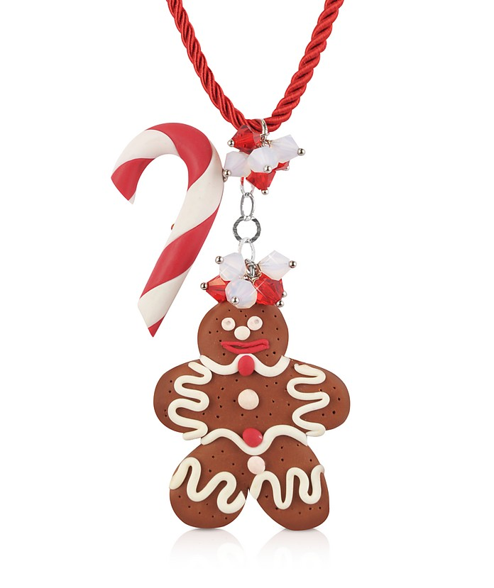 Candy Cane & Gingerbread Man Necklace - Dolci Gioie