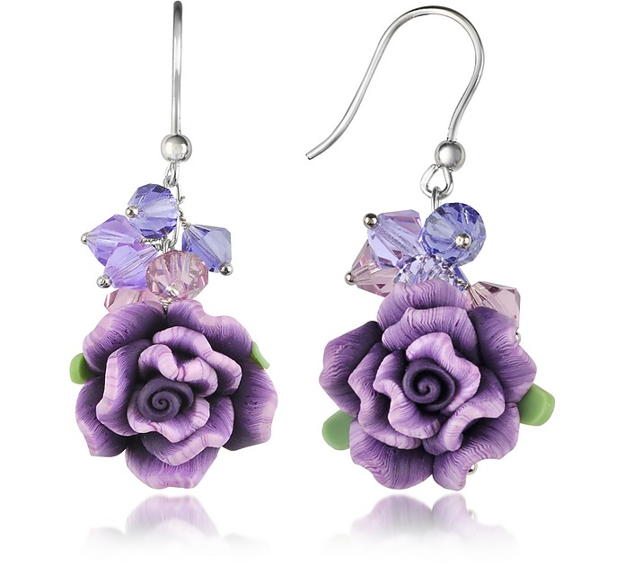 Purple Rose Earrings - Dolci Gioie