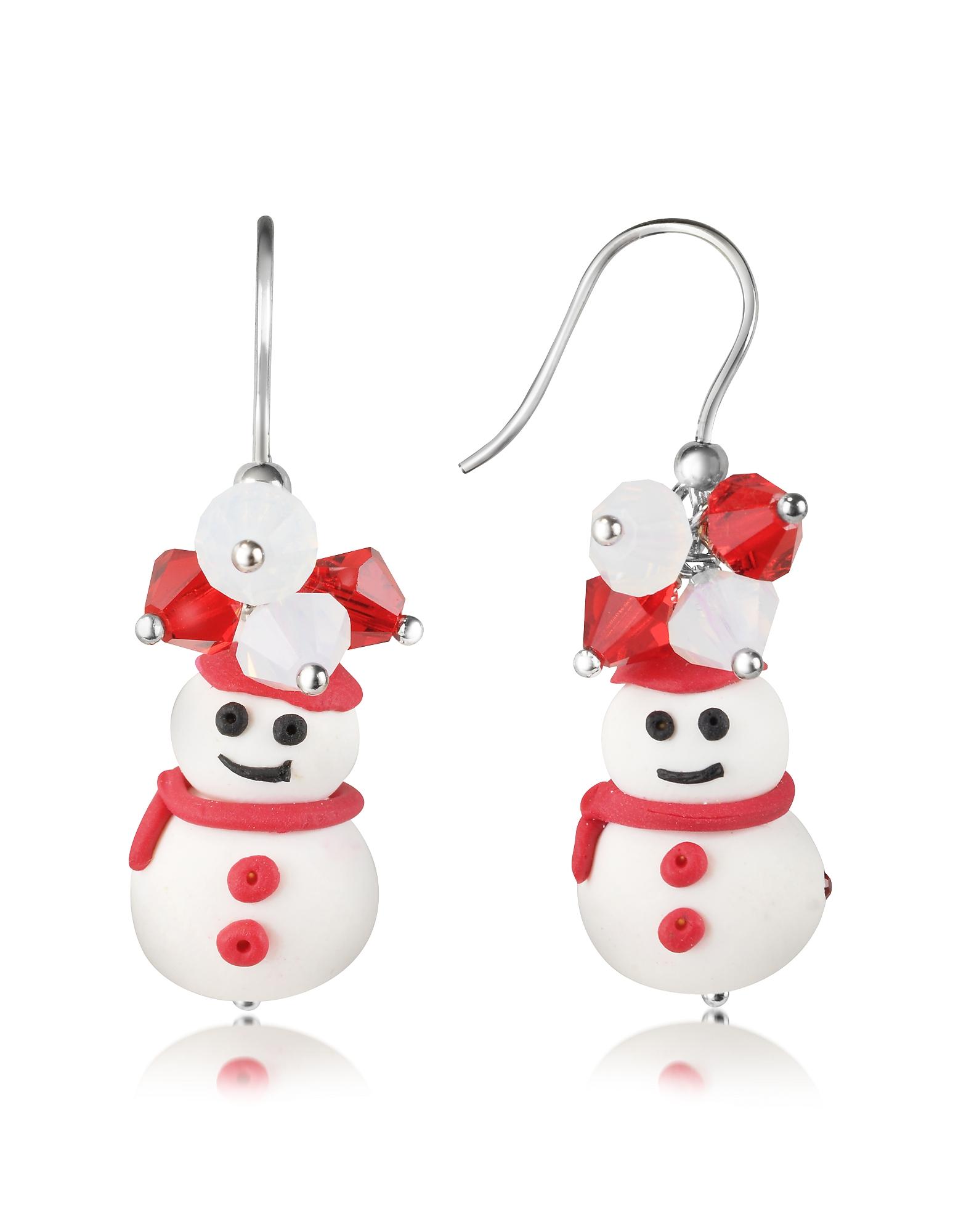 Фото Серьги-Снеговики с Кристаллами. Купить с доставкой