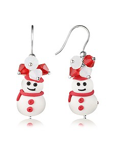 Snowman Pendant Earrings with Crystals - Dolci Gioie
