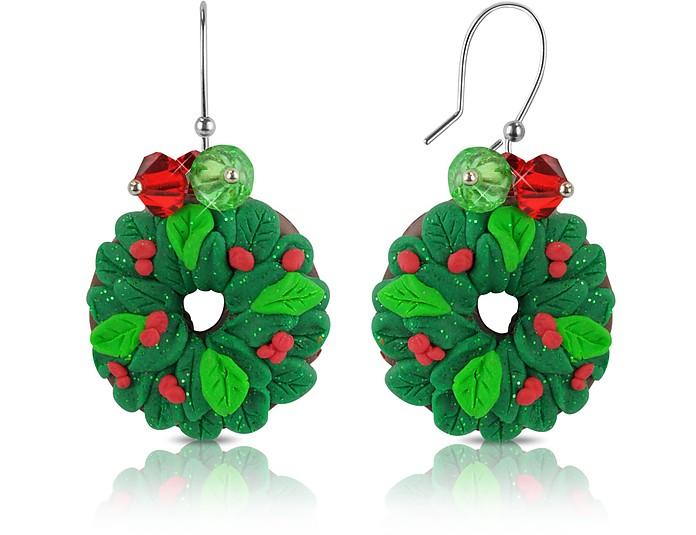 圣诞花环耳环 - Dolci Gioie