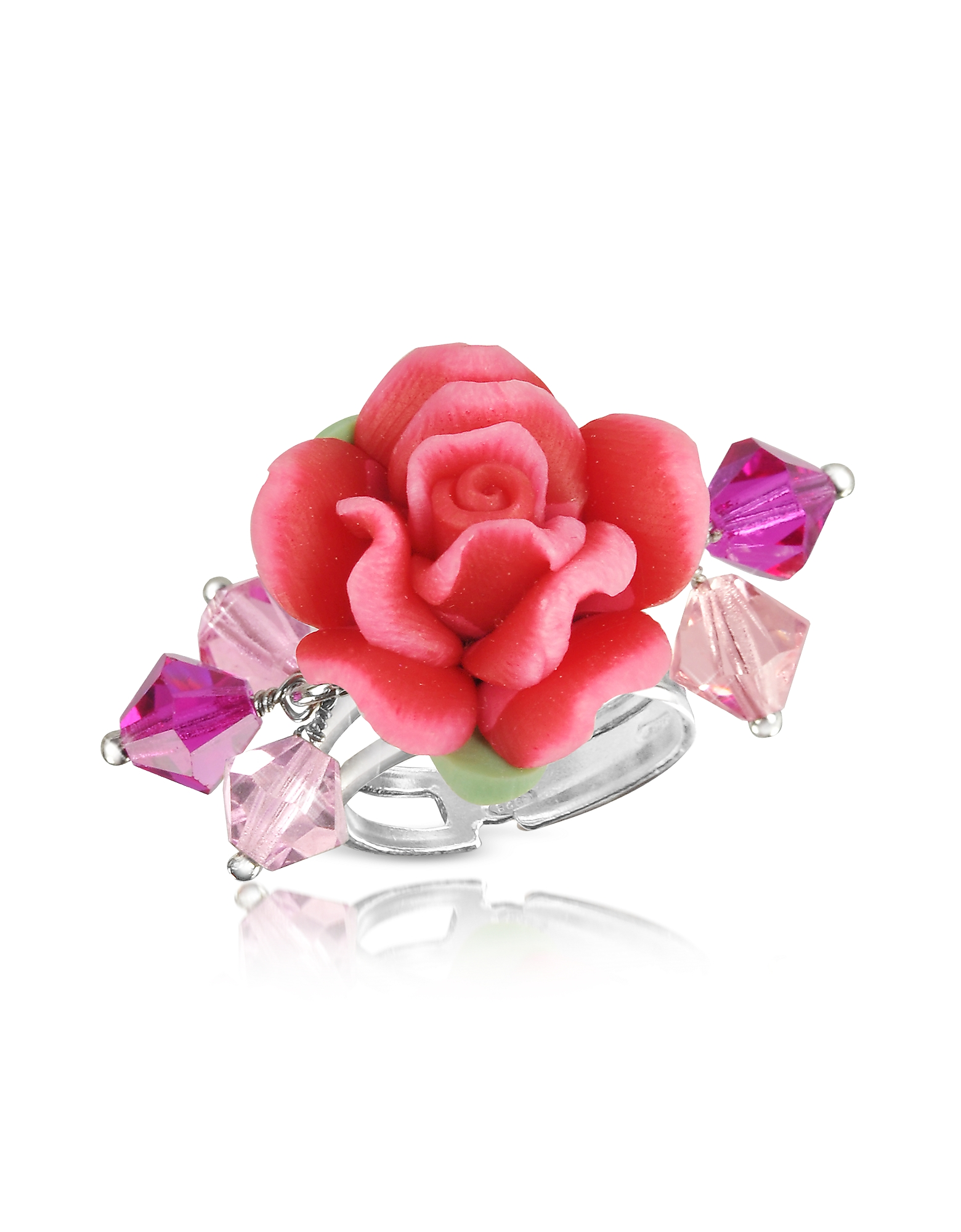 Dolci Gioie Rings, Sterling Silver Red Rose Ring