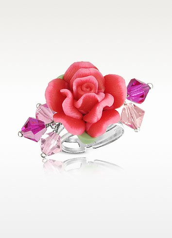 Sterling Silver Red Rose Ring - Dolci Gioie
