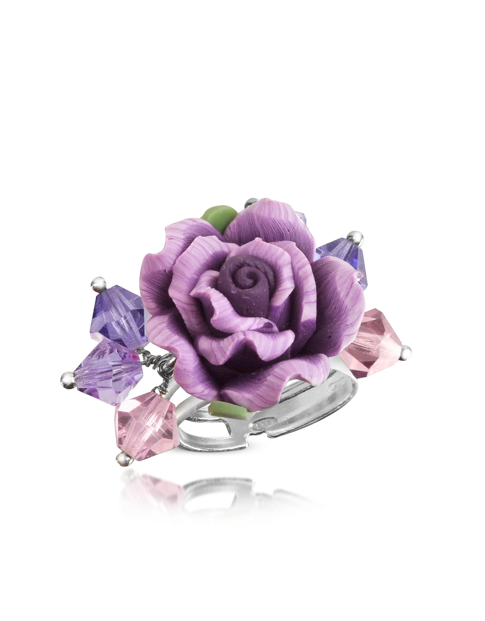 Dolci Gioie Кольцо из Серебра 925 пробы с Фиолетовой Розой