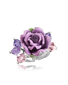 Sterling Silver Purple Rose Ring - Dolci Gioie
