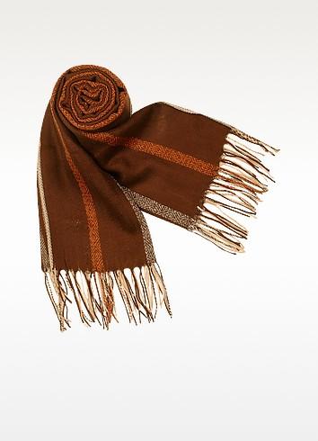 Ethnic Pattern Fringed Wool Stole - Marina D'Este