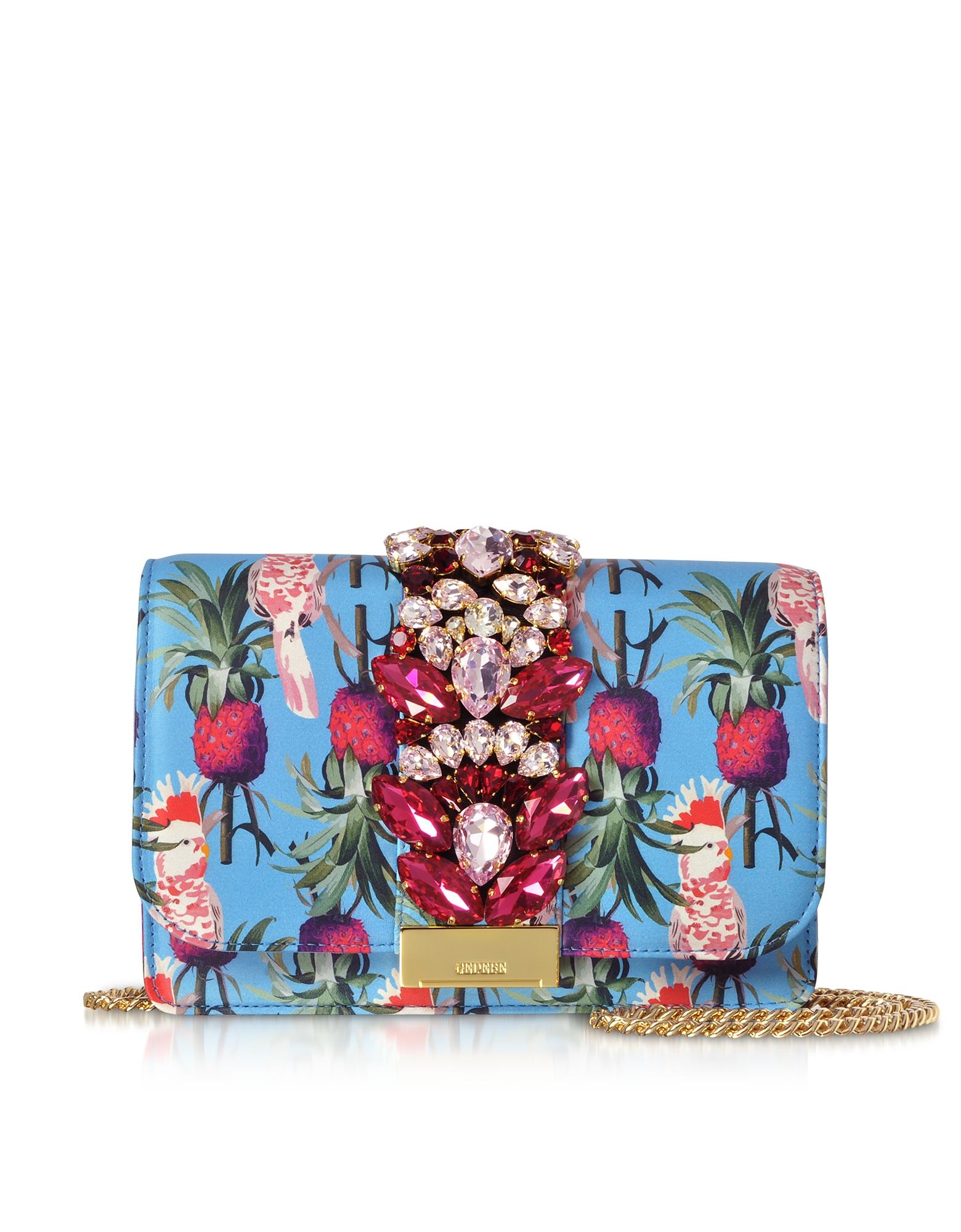 Gedebe Designer Handbags, Cliky Azure Parrot Clutch