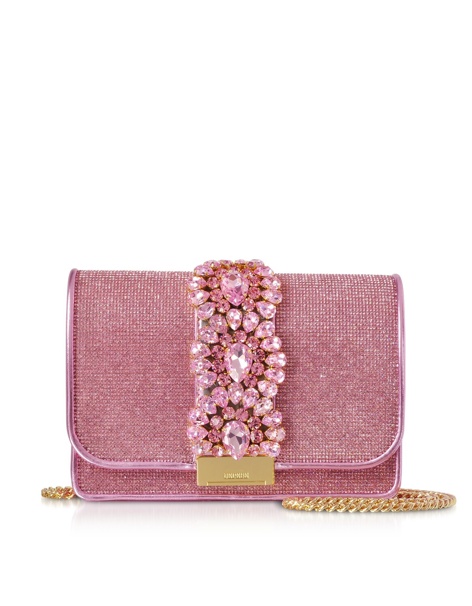 Gedebe  Handbags Cliky Light Rose Crystals Clutch