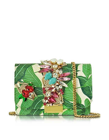Clicky Snake Leather Leaves Clutch