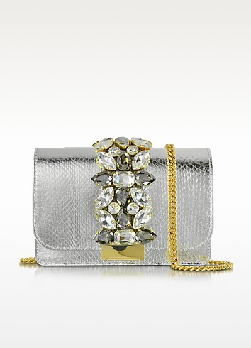 Clicky Silver Snake Leather Clutch - Gedebe