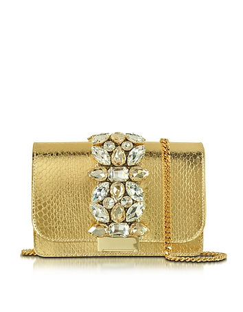 Gedebe - Clicky Gold Snake Leather Clutch
