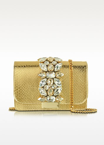 Clicky Gold Snake Leather Clutch - Gedebe