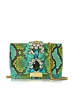 Gedebe Clicky Clutch in Pitone Turchese e Cristalli Turchese- gedebe - it.forzieri.com