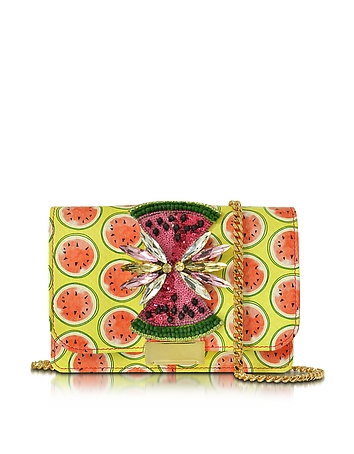 Gedebe - Clicky Snake Leather Watermelon Clutch