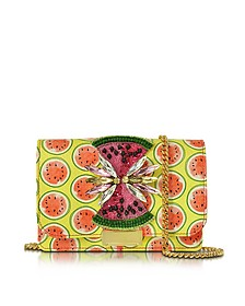 Clicky Snake Leather Watermelon Clutch - Gedebe