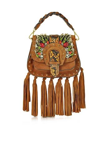 Alice Small Camel Suede Handbag