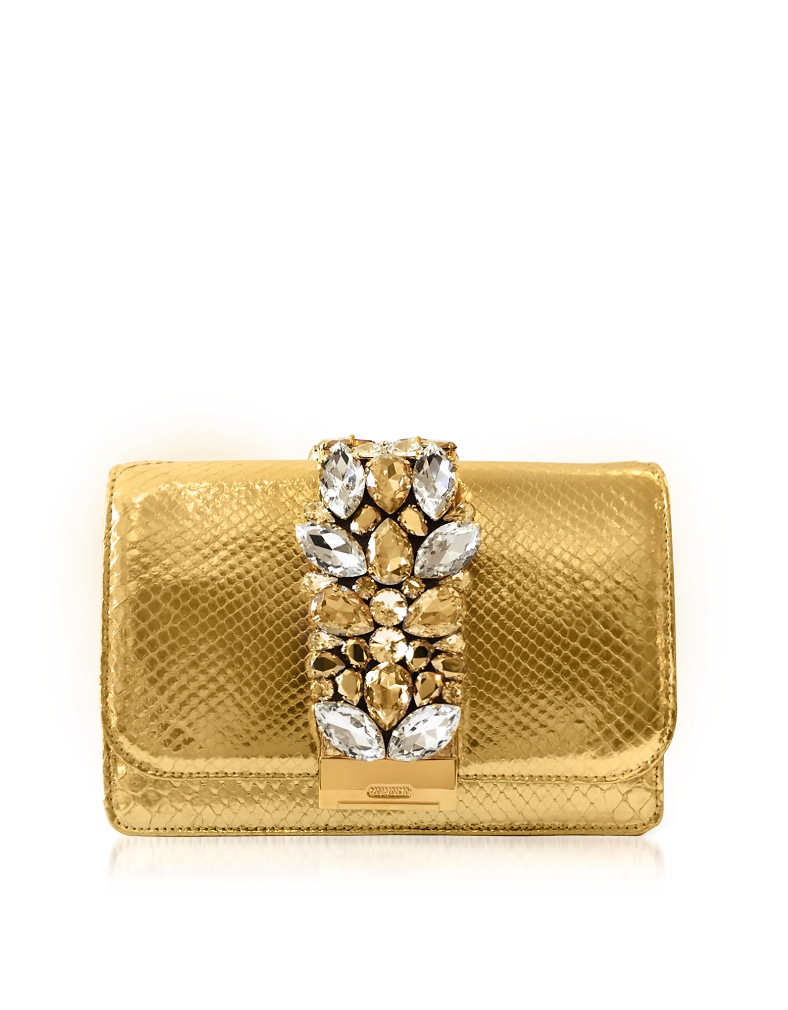 Gedebe Handbags, Cliky Gold Python Clutch w/Crystals