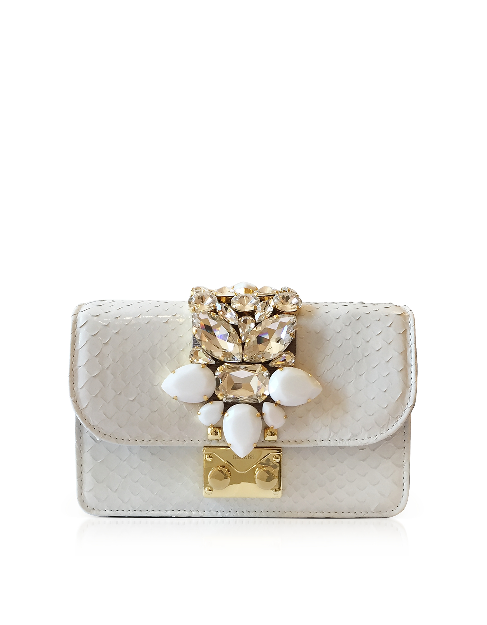 Gedebe Handbags, Mini Cliky White Python Clutch w/Crystals