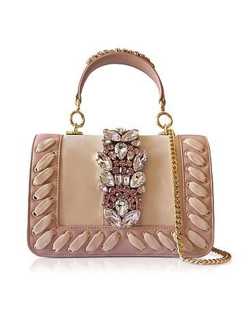 Bibi Crocus Suede Plot Satchel Bag w/Crystals