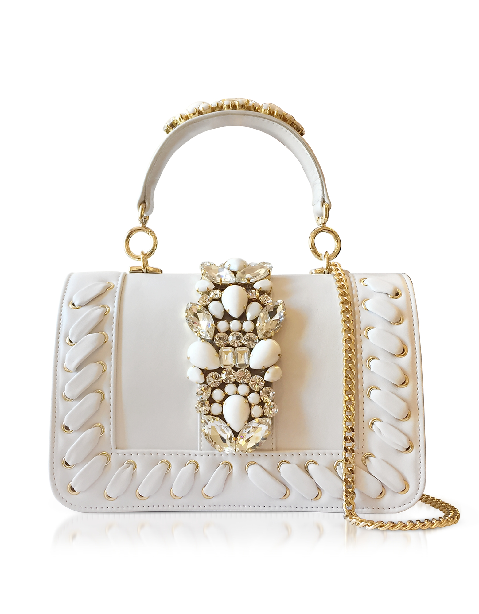 Gedebe Handbags, Bibi White Leather Plot Satchel Bag w/Crystals