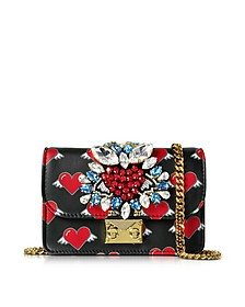Mini Clicky Flying Hearts Black Leather Clutch - Gedebe