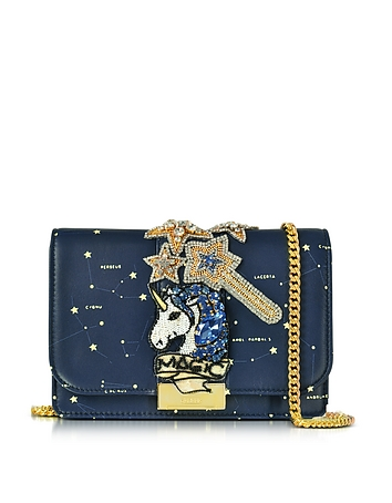 Gedebe - Clicky Blue Galaxy Leather Clutch w/Beaded Unicorn