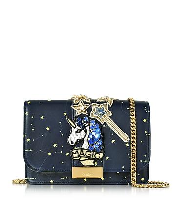 Gedebe - Clicky Blue Galaxy Leather Clutch w/Beaded Unicorn