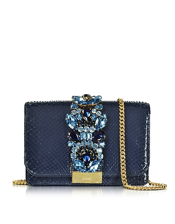 Gedebe - Clicky Midnight Blue Python Clutch w/Crystals