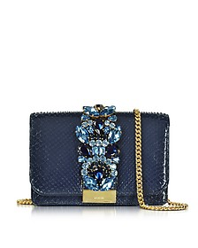 Clicky Midnight Blue Python Clutch w/Crystals - Gedebe