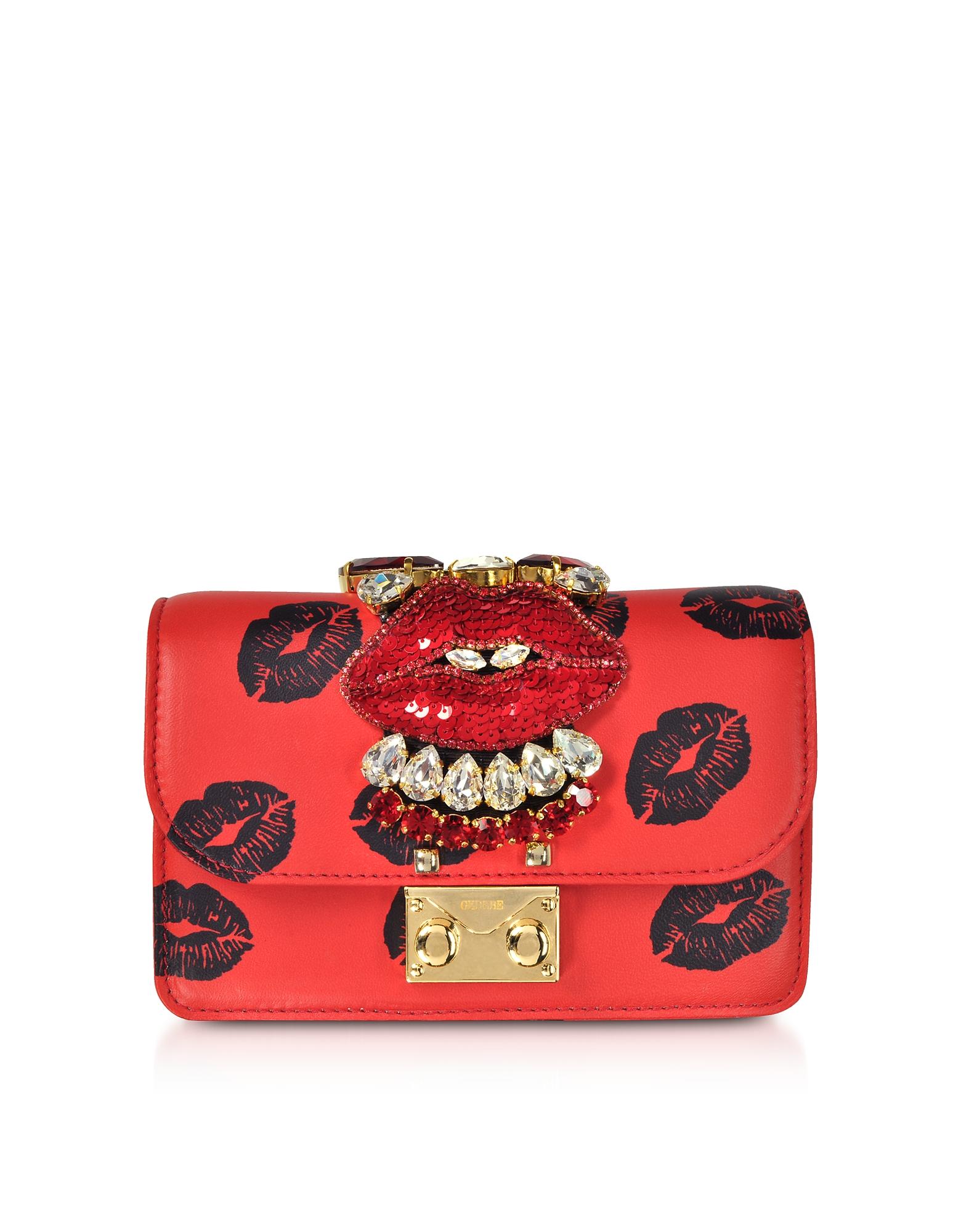 Image of Gedebe Designer Handbags, Mini Cliky Nappa Printed Red Lips Clutch w/Chain Strap