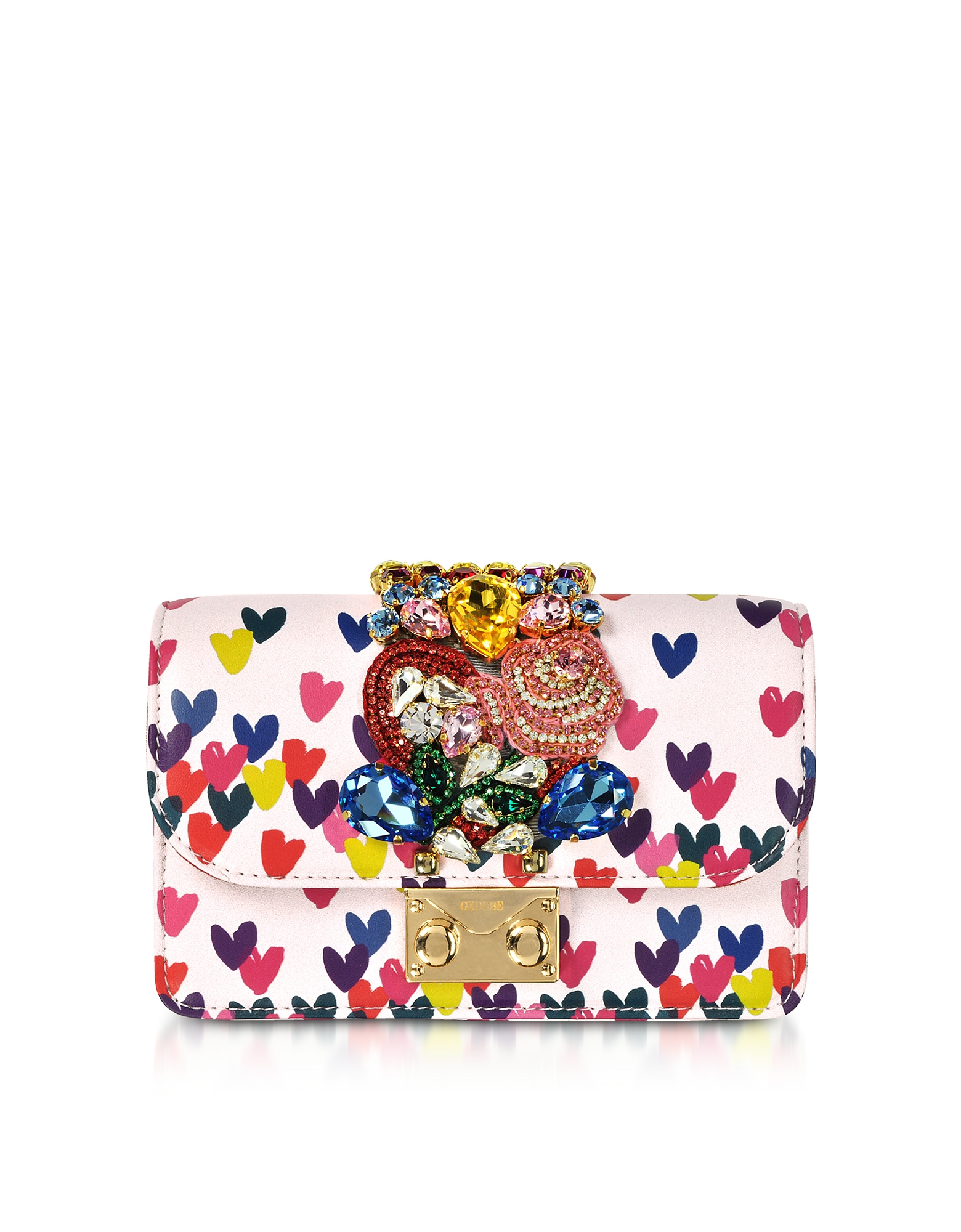 Gedebe Handbags, Mini Cliky Pink Nappa Printed Hearts Clutch w/Chain Strap