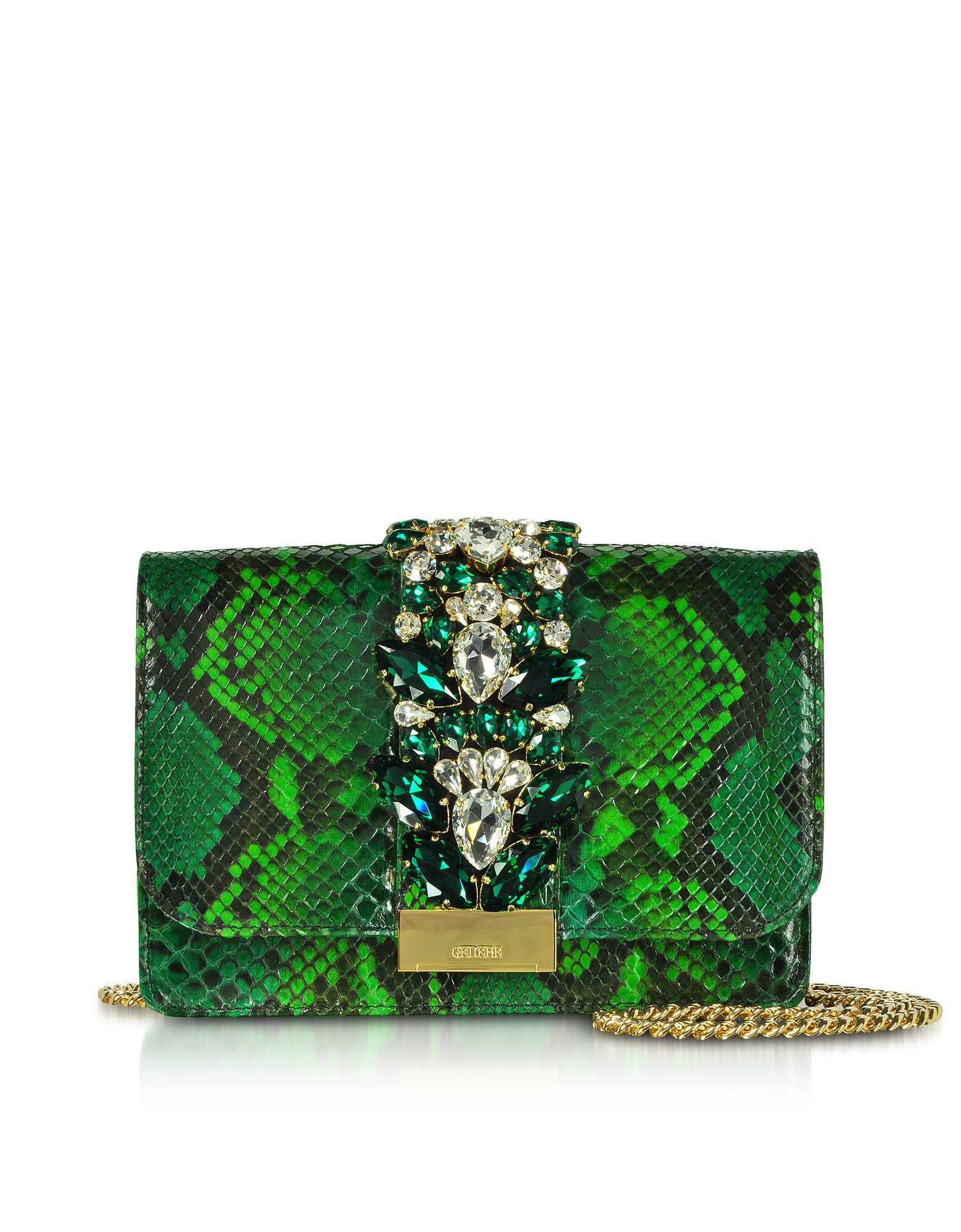 Clutch Cliky in Pitone Verde Smeraldo