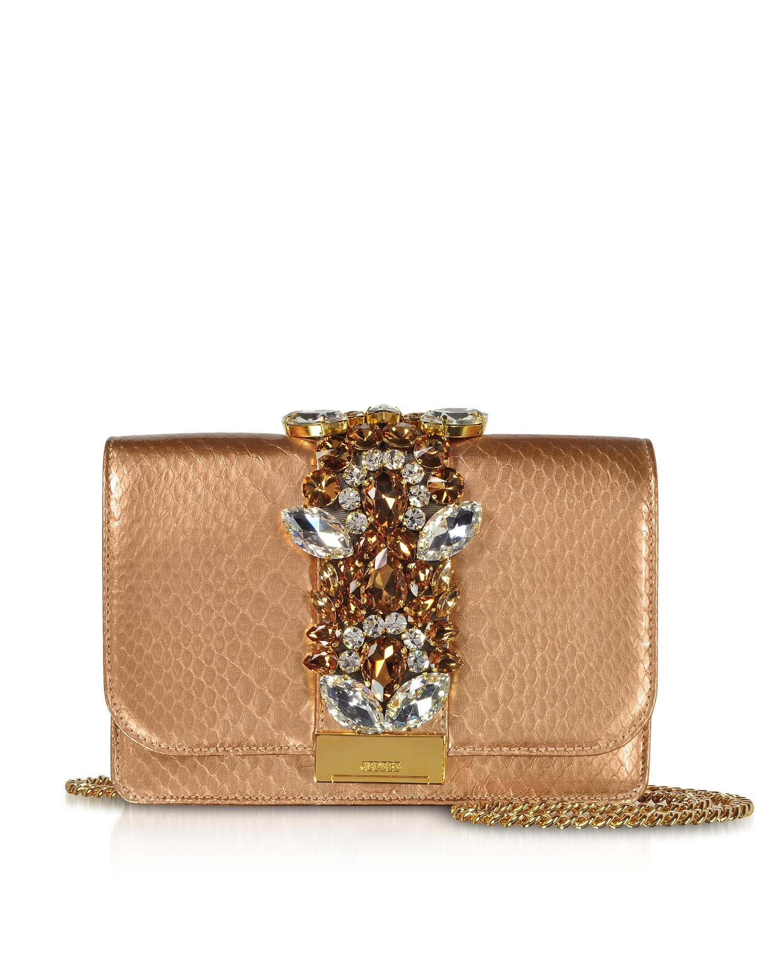 Clutch Cliky in Pitone Oro Rosa