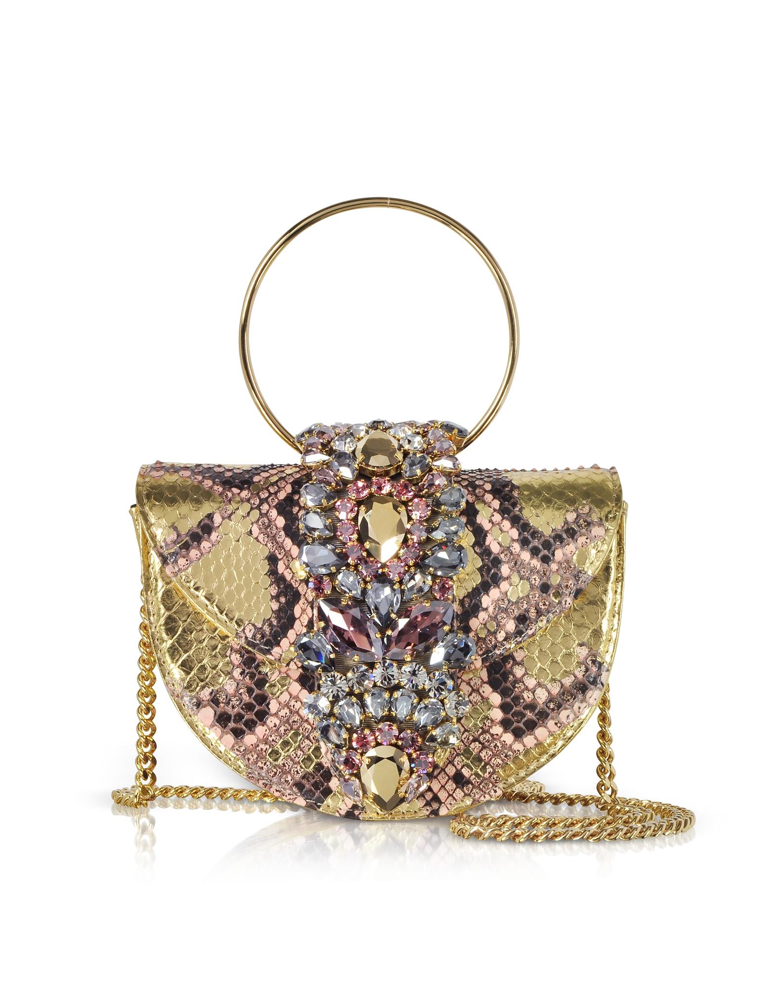 Mini Brigitte Pink Gold Python Clutch w/Crystals and Chain Strap