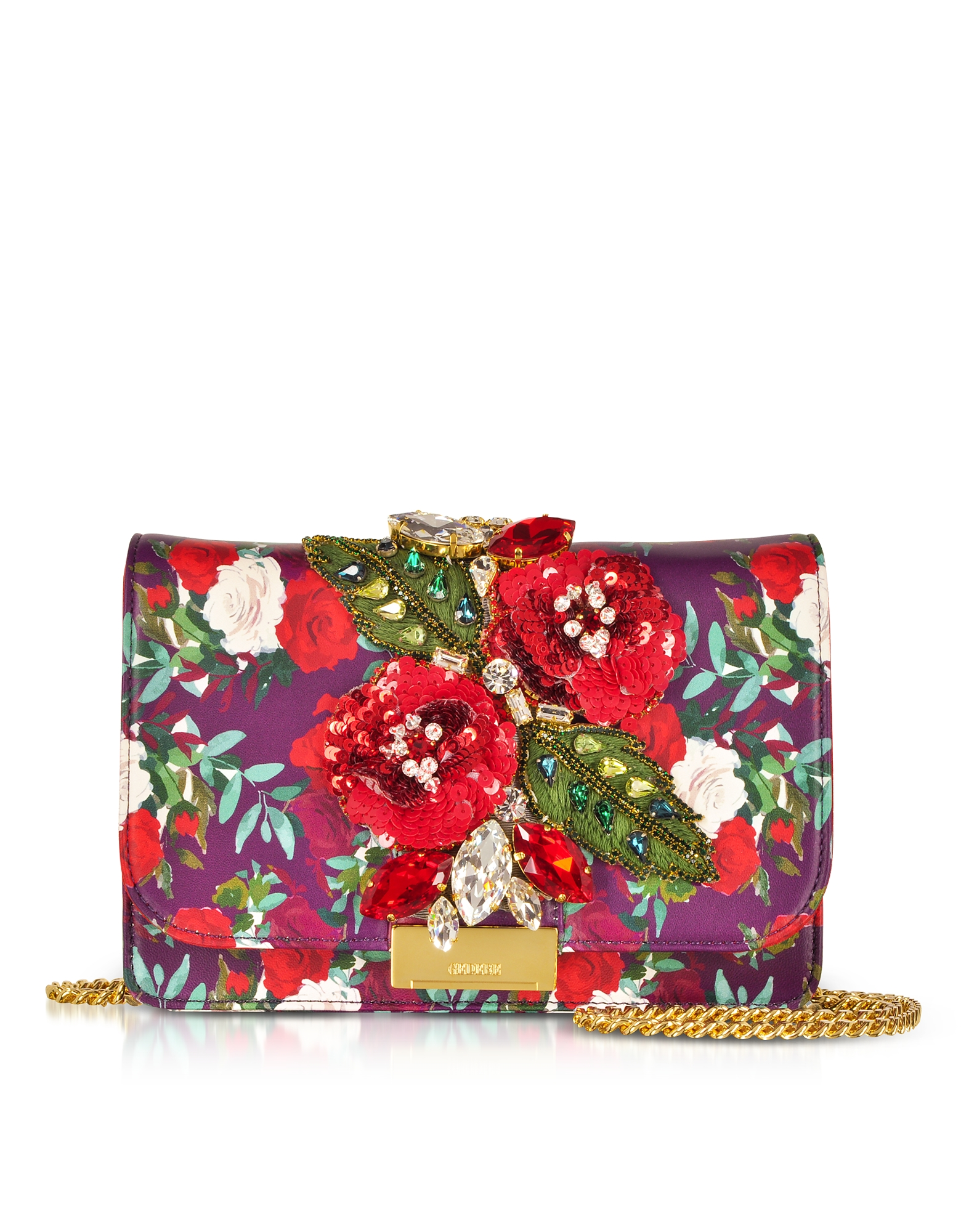 Image of Gedebe Designer Handbags, Cliky Red Burgundy Nappa Printed Roses Clutch w/Crystals and Chain Strap