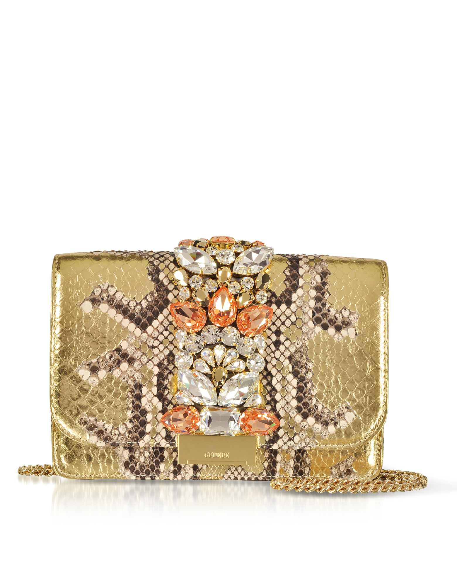Cliky Roccia Gold Python Clutch w/Crystals and Chain Strap