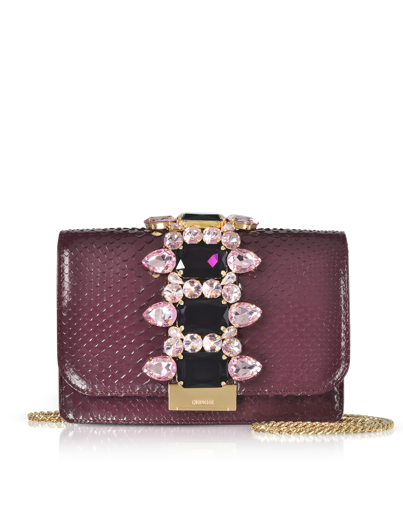 Cliky Purple Python Clutch w/Crystals and Chain Strap