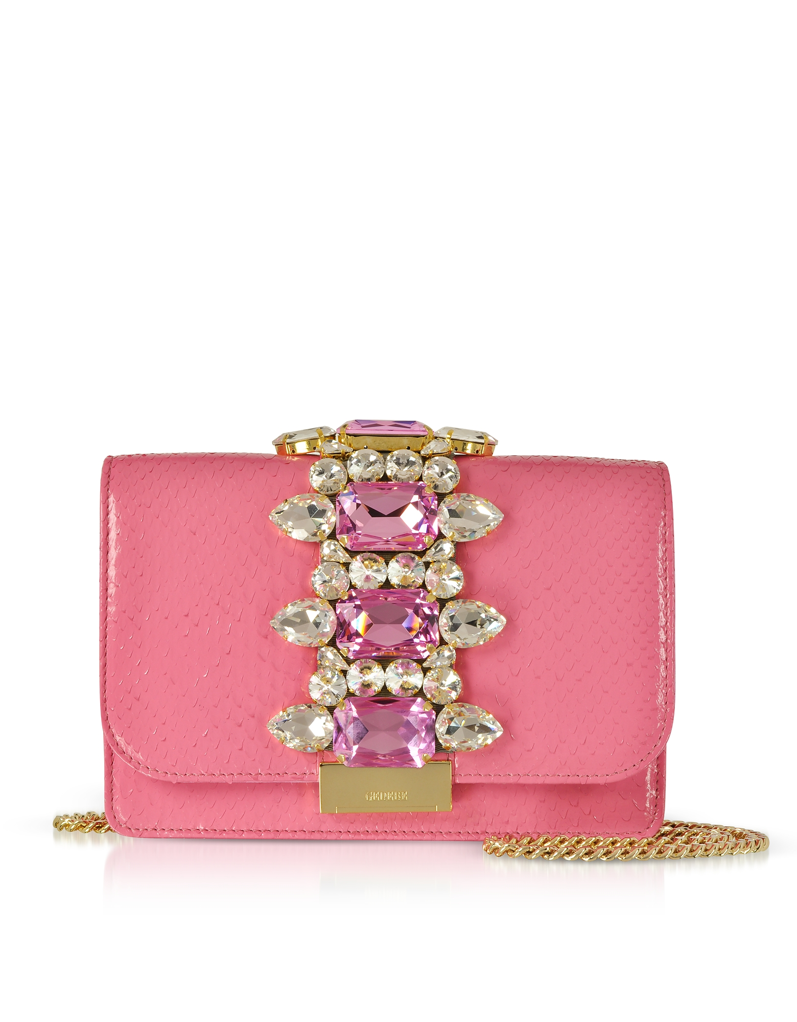 Cliky Barbie Python Clutch w/Crystals and Chain Strap