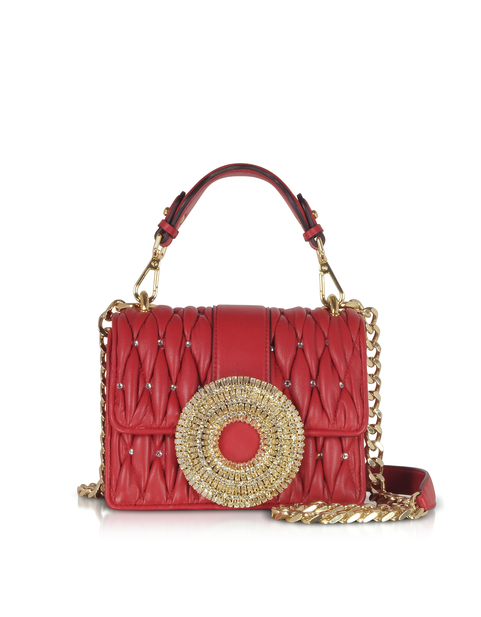 Gedebe Designer Handbags, Gio Small Nappa Leather & Crystal Handbag
