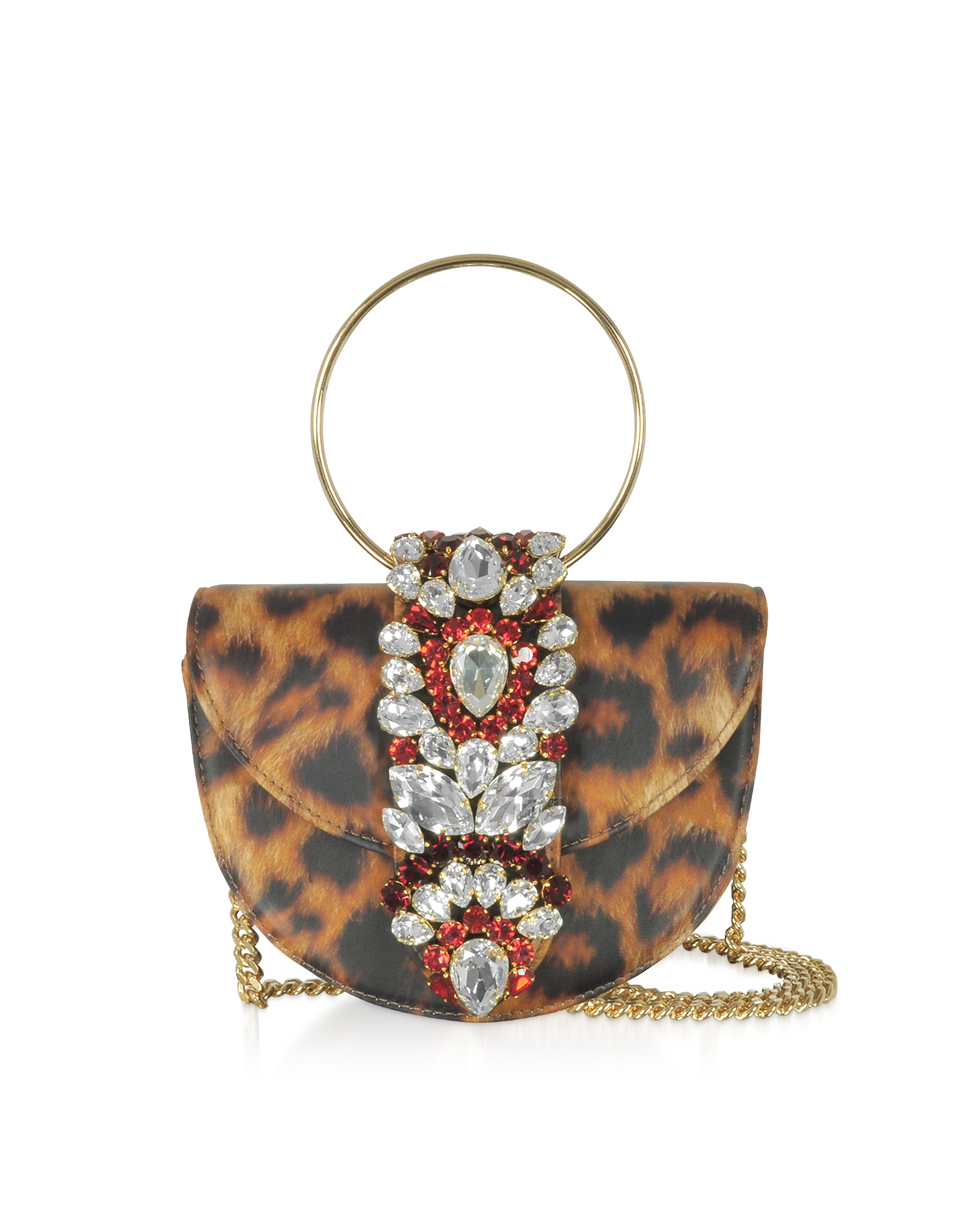 Gedebe Designer Handbags, Mini Brigitte Animal Printed Leather Clutch